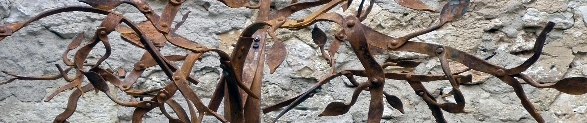 escultura, forja, arbol, metalmorfosis